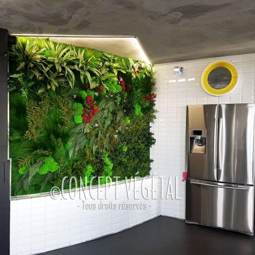 Mur v g tal mixte compos de v g tal artificiel et stabilis sans entretien - Mur vegetal exterieur sans entretien ...