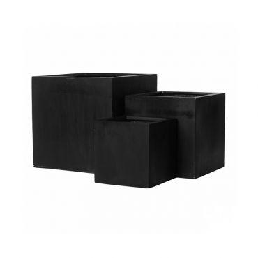 lot de 3 pot carr simple en m lange pierre et r sine. Black Bedroom Furniture Sets. Home Design Ideas